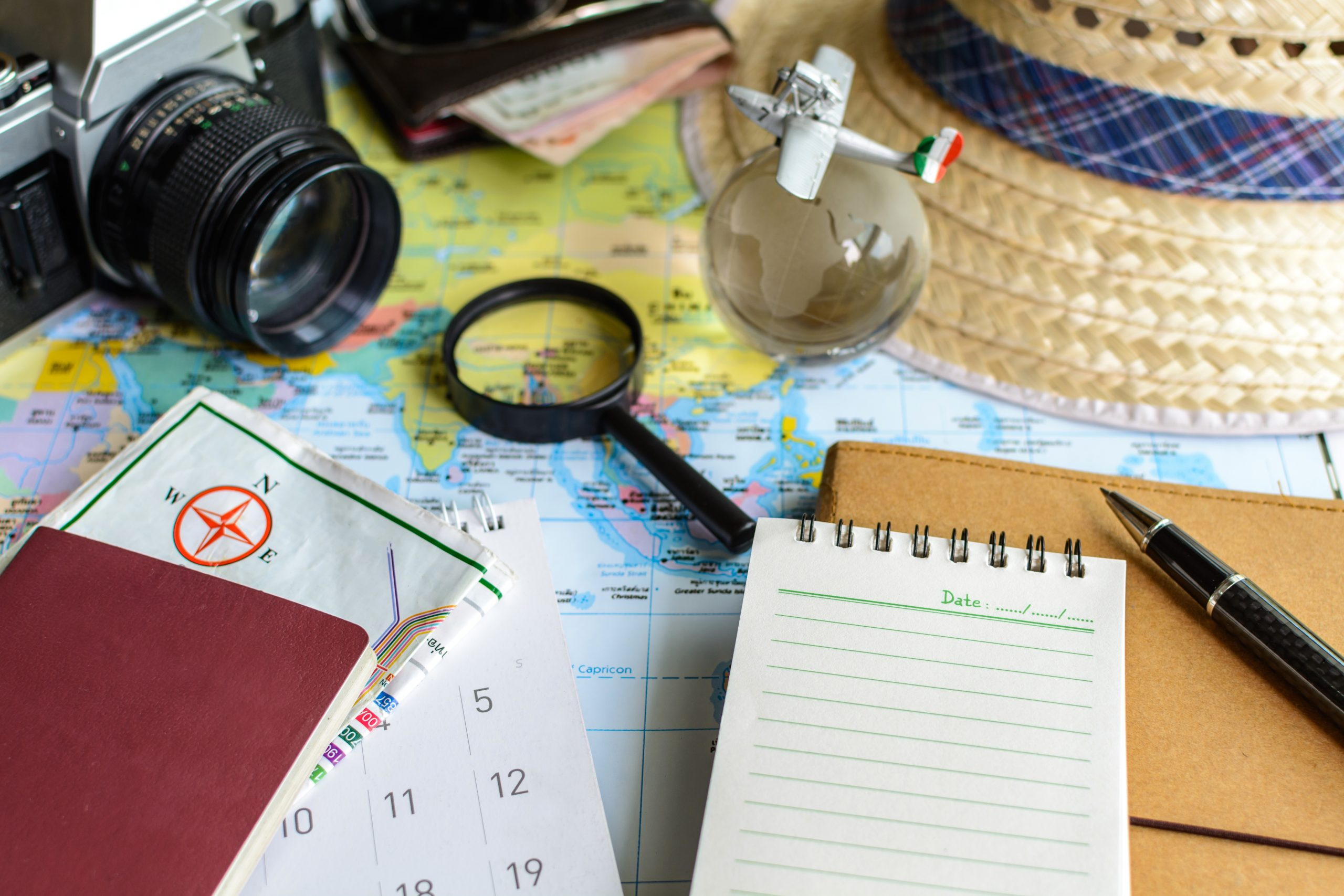 diary and calendar with passport and map, Travel planning