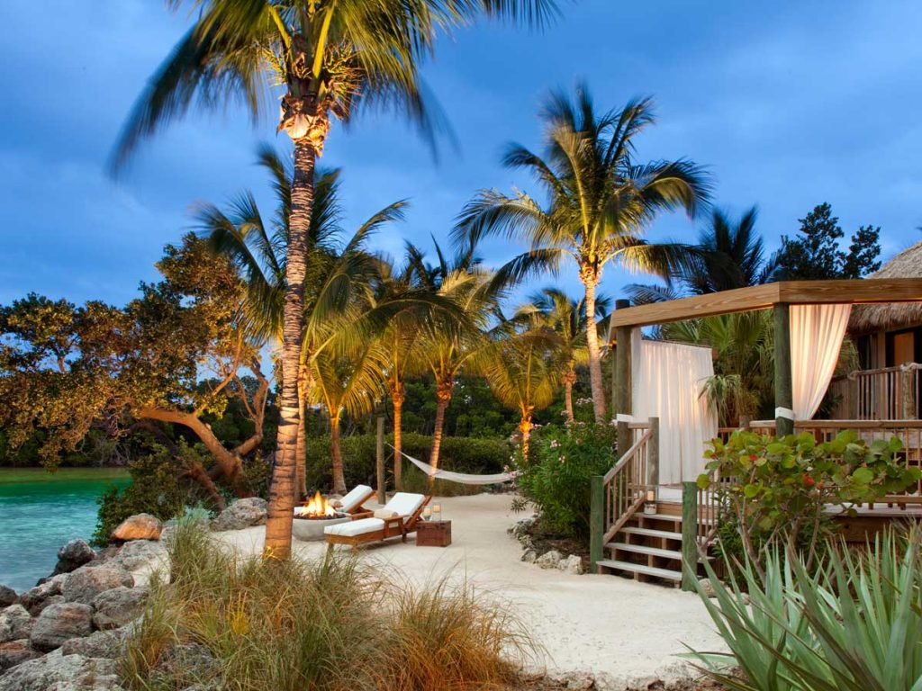 View of a terrace of a suite at Little Palm Bungalows Resort, Florida