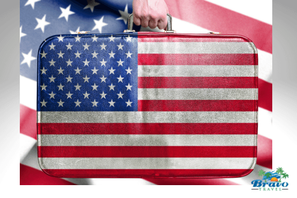 American flagged suitcase to represent some US Travel Ideas