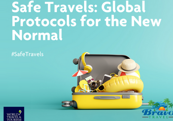 image with title of Global Safe Travel Protocols , hashtag Safe Travels