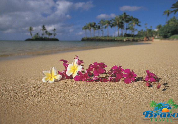 a flower lei on a beach in Hawaii