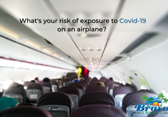 airplane cabin with caption What's your risk of exposure to Covid-19 on an airplane?